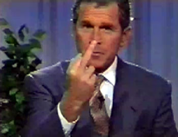 George W. Bush giving the finger