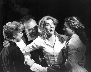 Claudie Blakley, John Bowe, Natasha Richardson, Louisa Clein in Ibsen's The Lady from the Sea (Almeida 2003), directed by Trevor Nunn, Lighting by Hugh Vanstone, photo: Catherine Ashmore