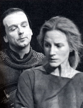 Ian McDiarmid as Stucley and Penny Downie as Ann in Howard Barker's The Castle (RSC: The Pit, 1985, dir. Nick Hamm), photographer, Donald Cooper - taken from Charles Lamb's The Theatre of Howard Barker (2005)