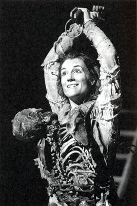 Harriet Walter as Skinner in Howard Barker's The Castle (RSC: The Pit, 1985, dir. Nick Hamm), photographer, Donald Cooper - taken from Charles Lamb's The Theatre of Howard Barker (2005)