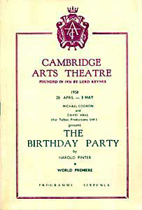 Programme cover for the premiere of Harold Pinter's The Birthday Party (1959), taken from Pinter's own website http://www.haroldpinter.org